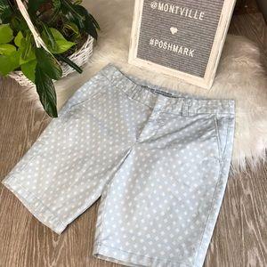 GAP Size 6 Blue White Print Cotton Bermuda Shorts